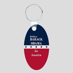 Barack Obama for America Aluminum Oval Keychain