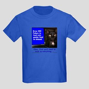 Cat Blue Screen Kids Dark T-Shirt