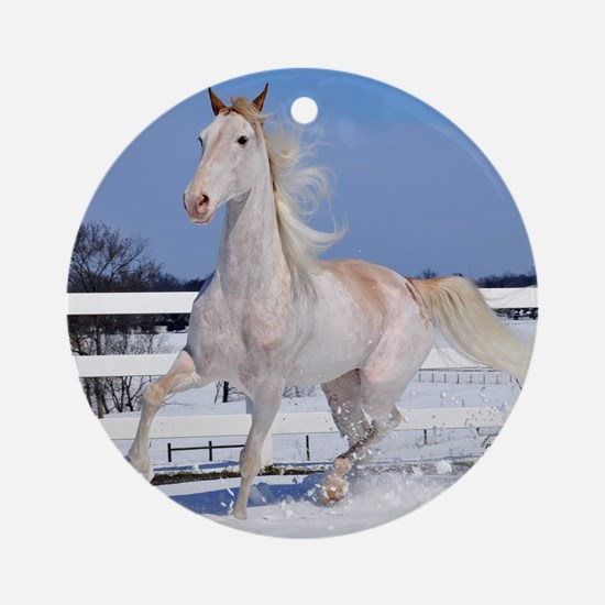 Red Roan in Snow Ornament (Round)