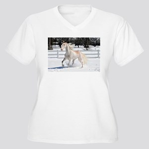 Horse in Snow Women's Plus Size V-Neck T-Shirt