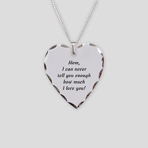 Mom, I Love You Necklace Heart Charm