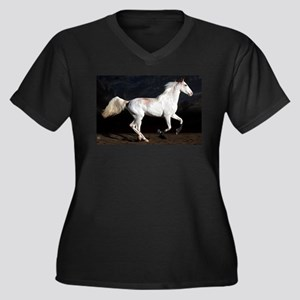 Sabino White Horse Women's Plus Size V-Neck Dark T