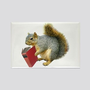 Squirrel with Book Rectangle Magnet