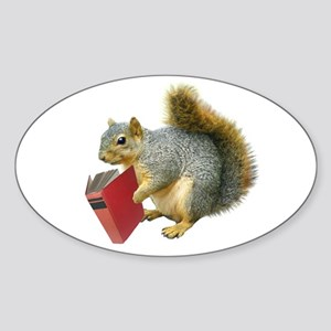 Squirrel with Book Oval Sticker