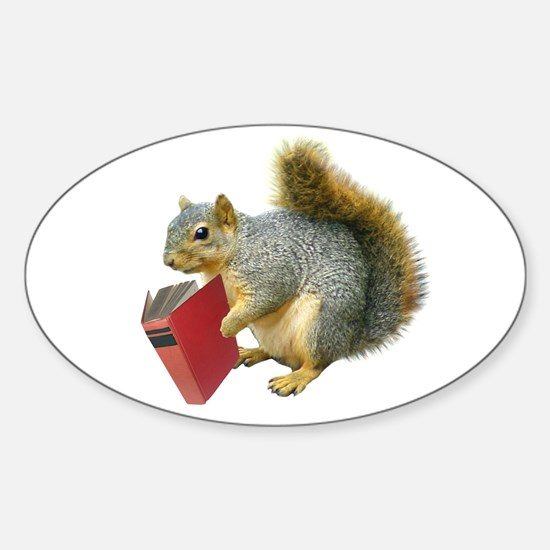 Squirrel with Book Oval Decal