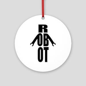 Typographic Robot Ornament (Round)