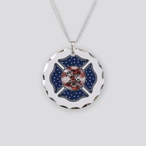 Firefighter USA Necklace Circle Charm