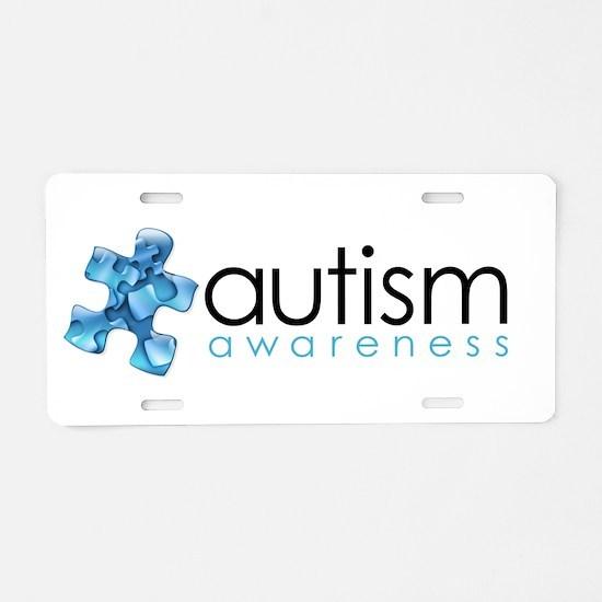 PuzzlesPuzzle (Blue) Aluminum License Plate