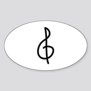 Treble Clef Sticker (Oval)