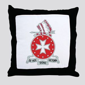 DUI - 1st Bn - 14th FA Regt with Text Throw Pillow