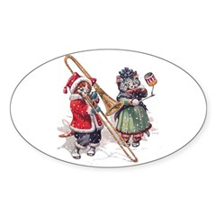 Christmas Musical Cats Sticker (Oval 50 pk)