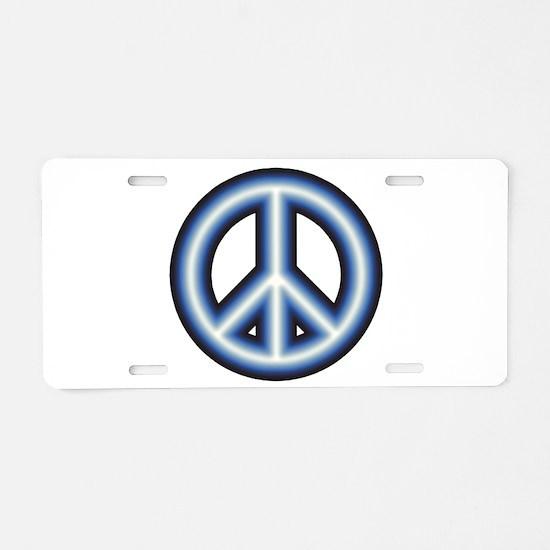 Blue Peace Symbol Aluminum License Plate