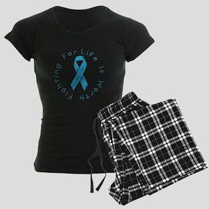 LightBlue Ribbon - Survivor Women's Dark Pajamas