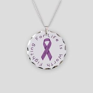 Lavender Ribbon - Survivor Necklace Circle Charm