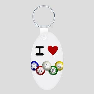 I LUV BINGO Aluminum Oval Keychain