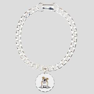 Cute English Bulldog Charm Bracelet, One Charm