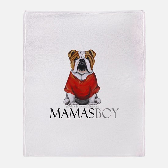 Mamas Boy Bulldog Throw Blanket