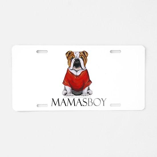 Mamas Boy Bulldog Aluminum License Plate
