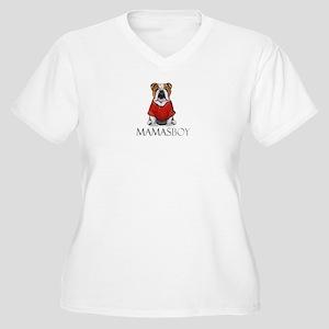 Mamas Boy Bulldog Women's Plus Size V-Neck T-Shirt