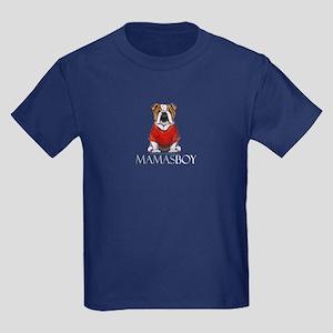 Mamas Boy Bulldog Kids Dark T-Shirt