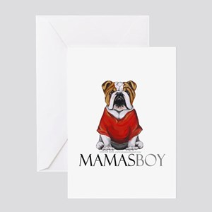 Mamas Boy Bulldog Greeting Card