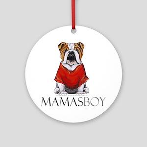 Mamas Boy Bulldog Ornament (Round)