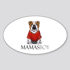 Mamas Boy Bulldog Sticker (Oval)