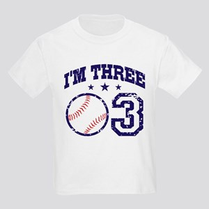 Three Year Old Baseball Kids Light T-Shirt