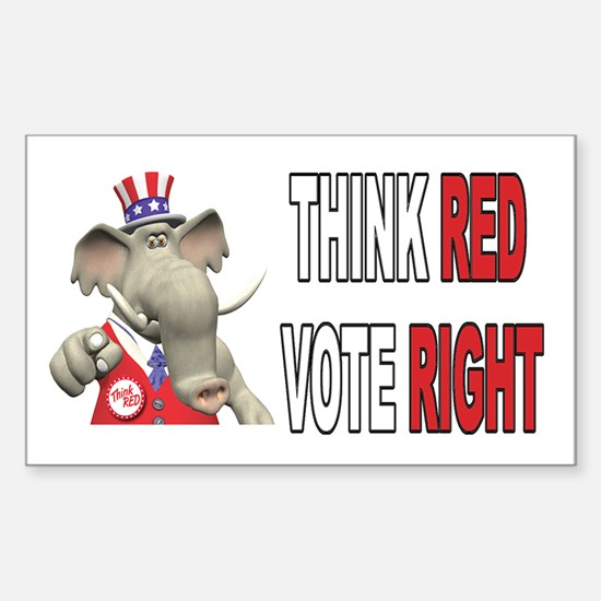 I Want You. Think Red. Sticker (Rectangular)