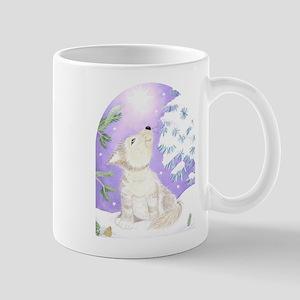 wolf in snow Mug
