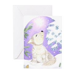 wolf in snow Greeting Cards (6)