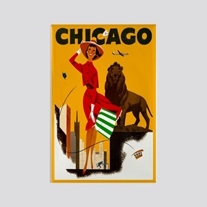 Vintage Chicago Travel Rectangle Magnet