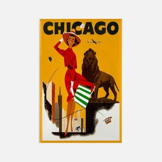 Vintage Chicago Travel Rectangle Magnet