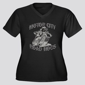 MOTOR CITY ROAD HOGS Women's Plus Size V-Neck Dark