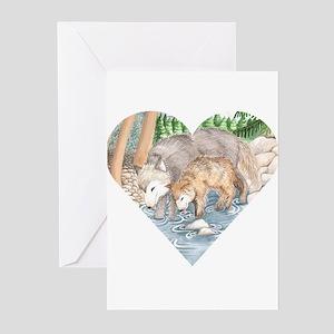 wolves at creek Greeting Cards (6)