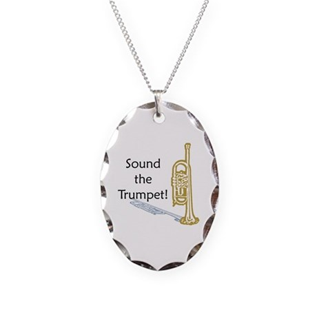 Trumpet Necklace Oval Charm