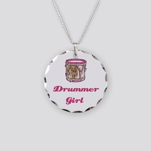 Drummer Girl Necklace Circle Charm