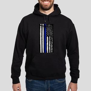 Vertical distressed police flag Sweatshirt
