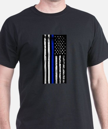 Vertical distressed police flag T-Shirt
