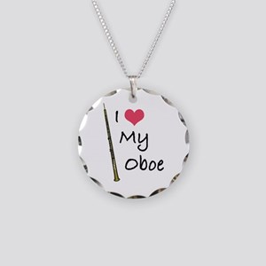 I Love My Oboe Necklace Circle Charm