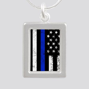 Vertical distressed police flag Necklaces