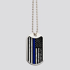 Vertical distressed police flag Dog Tags