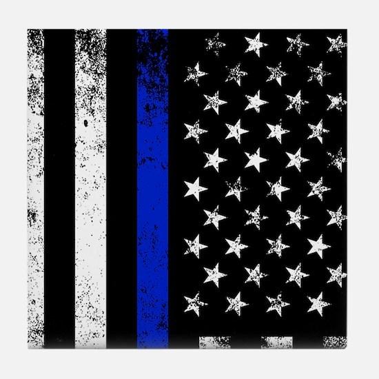 Vertical distressed police flag Tile Coaster