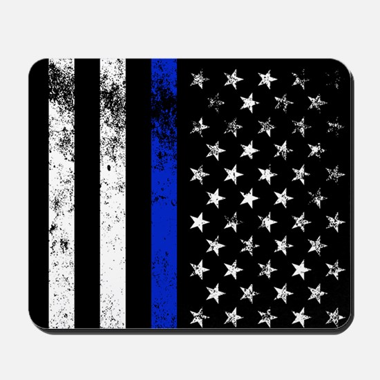 Vertical distressed police flag Mousepad