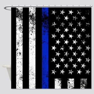 Vertical distressed police flag Shower Curtain