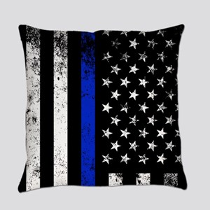 Vertical distressed police flag Everyday Pillow