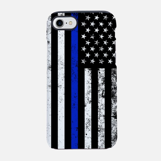 Vertical distressed police fla iPhone 7 Tough Case