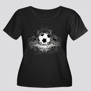 Soccer Aunt Women's Plus Size Scoop Neck Dark T-Sh