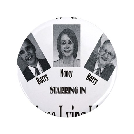"""New Stooges: Lying Libs 3.5"""" Button"""