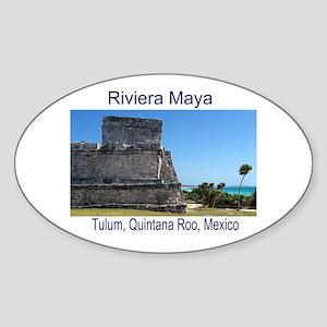 Riviera Maya, Tulum, QR, MX R Sticker (Oval)